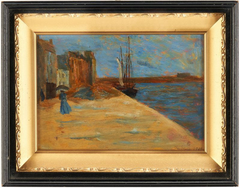 Lot 998: European School O/B Painting, Cherbourg Harbor