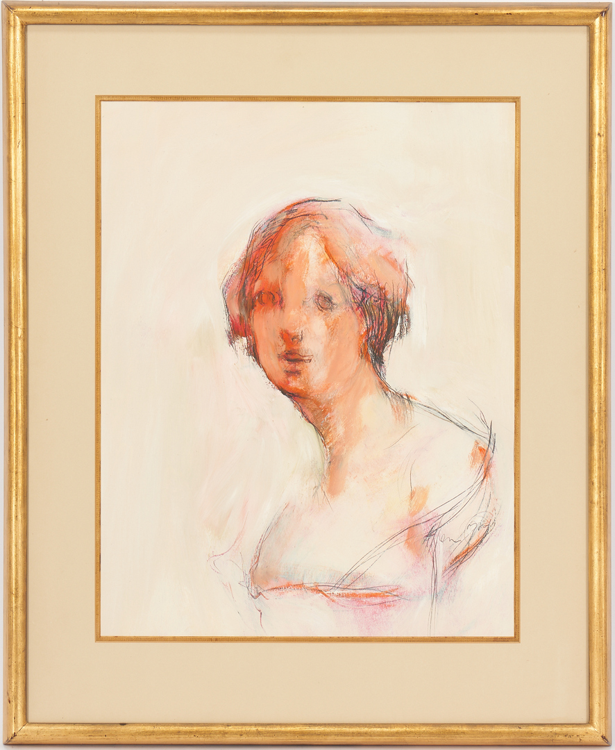 Lot 1003: Jere Allen Mixed Media on Paper, Lady in a Gown