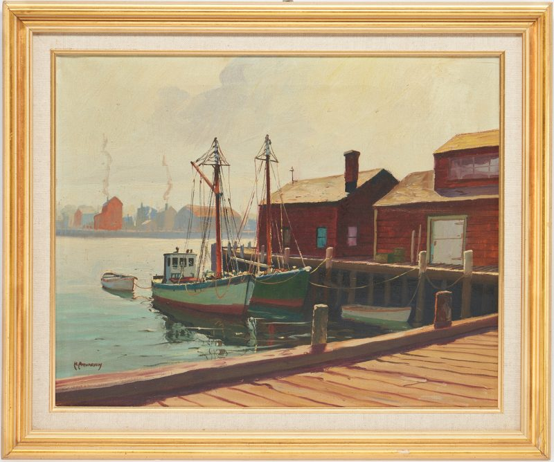 Lot 1005: C. Hjalmar Amundsen O/C, Harbor Scene