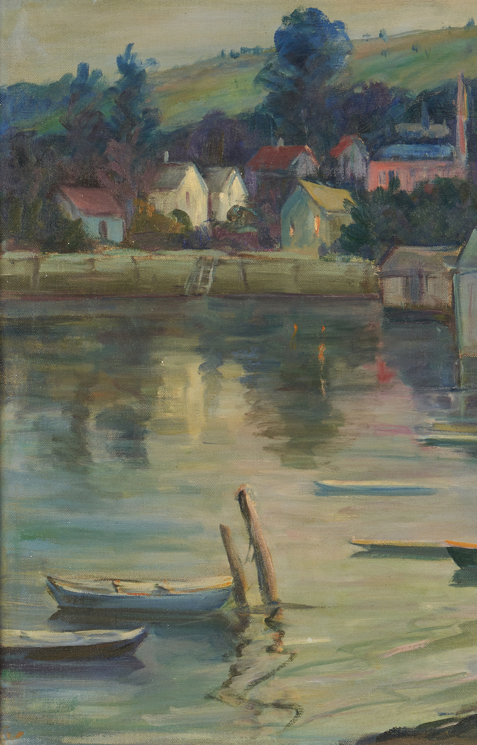 Lot 1006: Elizabeth M. Lobingier O/C Marine Painting, Harbor Scene