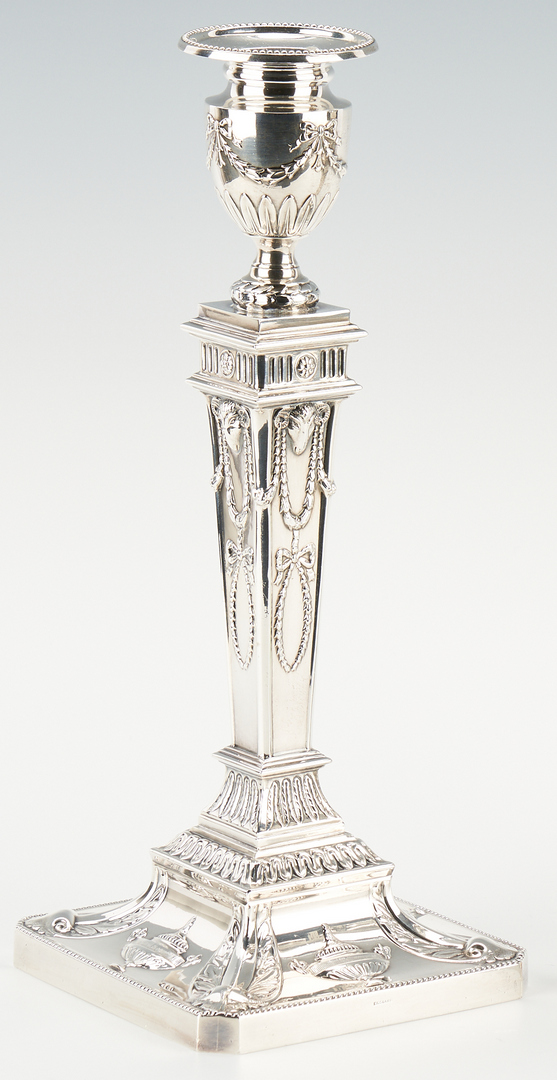 Lot 100: 4 English Neoclassical-Style Sterling Candlesticks