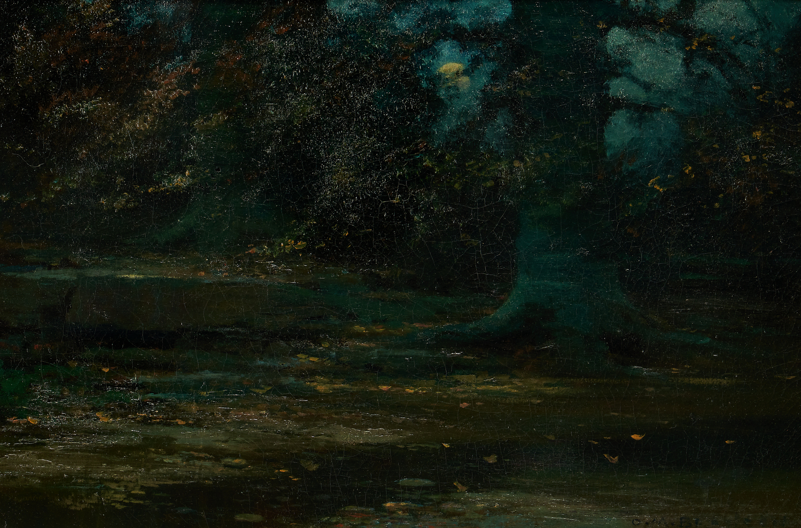 Lot 1010: O/C landscape, Tree in Moonlight, Signed