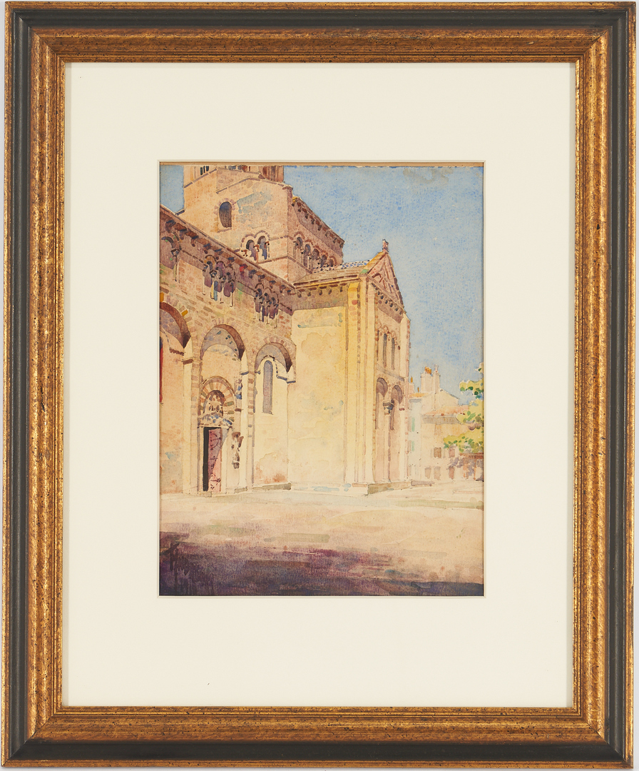 Lot 1011: 2 Signed Watercolor Paintings, Architectural Scenes