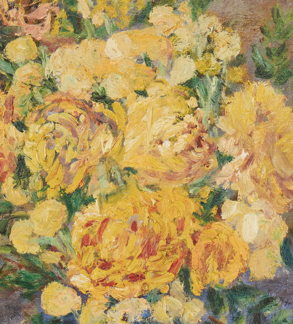 Lot 1012: Clara Newman, Indiana, O/C Still Life with Yellow Flowers, Exhibited