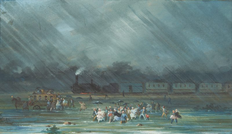Lot 1014: Small Painting, Flood Scene with Train, illegibly signed