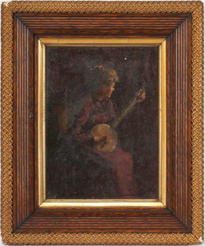 Lot 1015: American School O/C Painting, Woman w/ Banjo