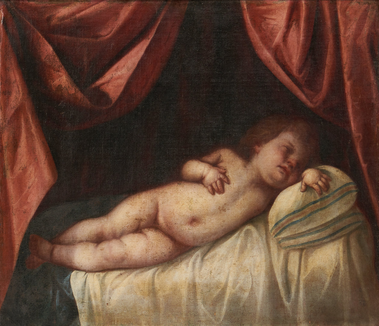 Lot 1016: 19th Century Portrait of a Child in Repose, poss. Indiana
