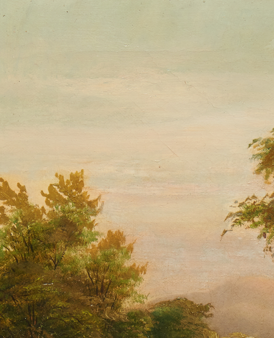 Lot 1028: English School O/C Landscape Painting, Peaceful River
