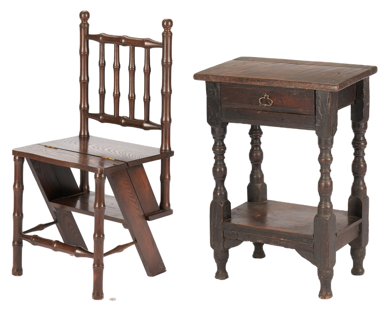 Lot 1031: Early Oak One Drawer Table plus Convertible Library Ladder Chair