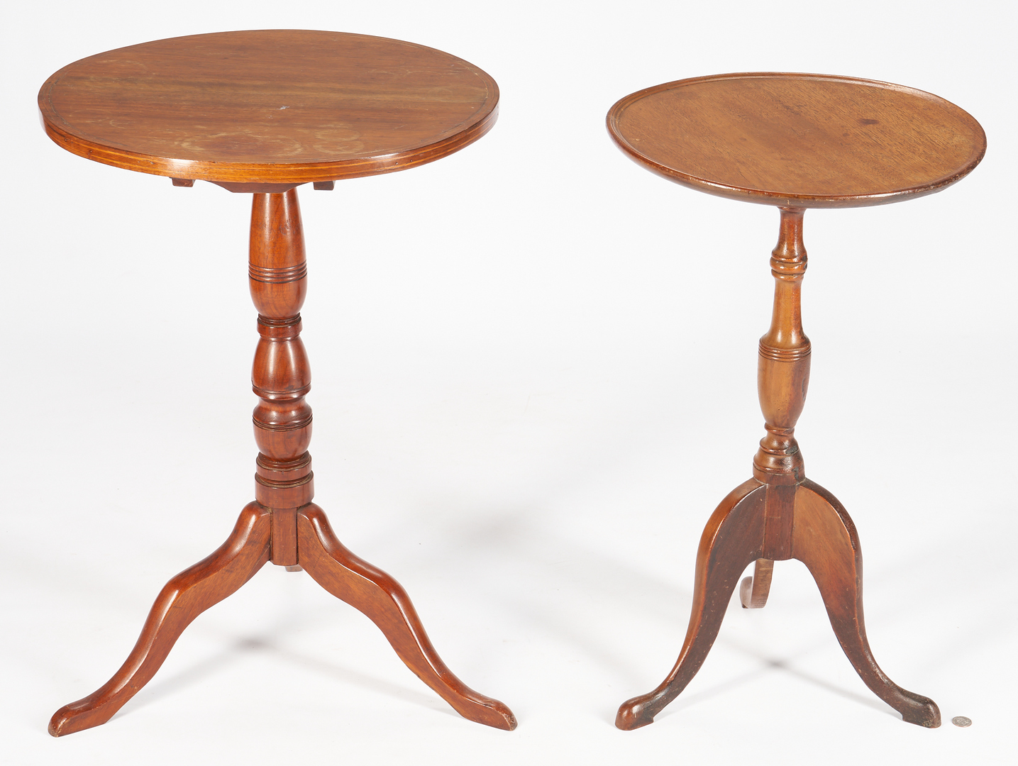 Lot 1034: 2 Walnut Candle Stands, Southern & Mid-Atlantic