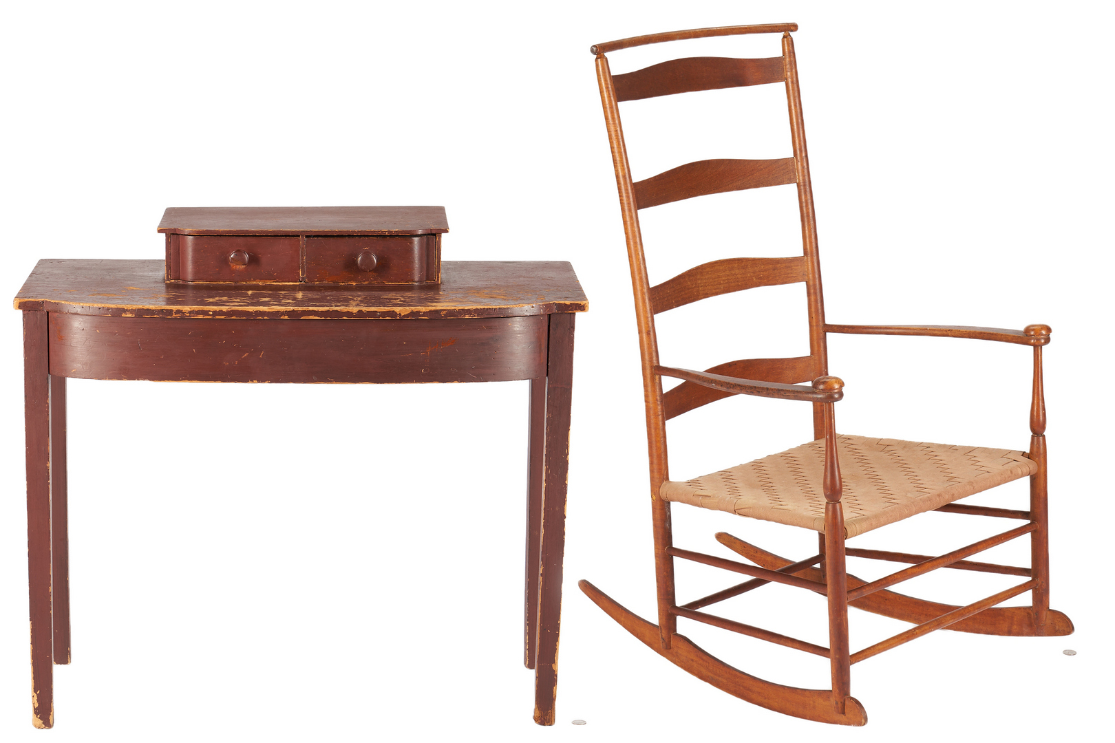 Lot 1037: Red Painted Bowfront Table & Shaker Cherry Rocking Chair