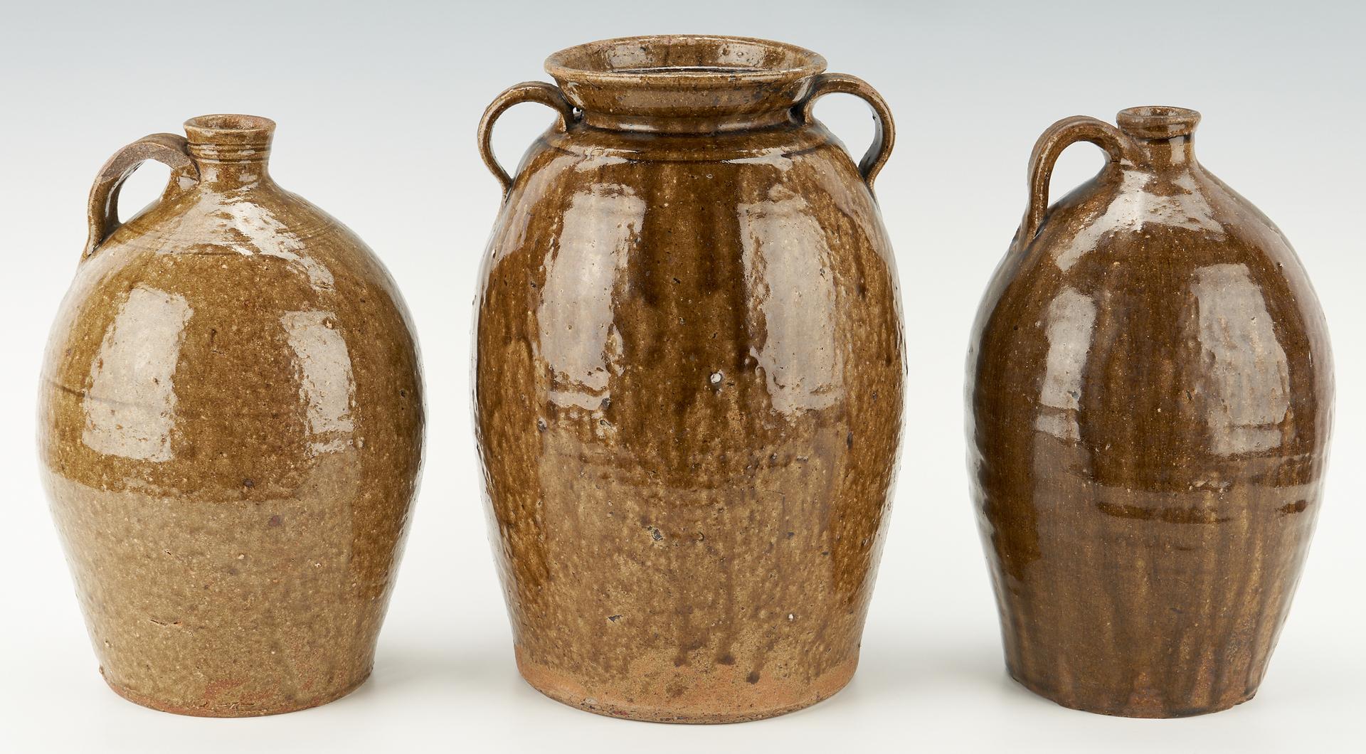 Lot 1039: 3 North Carolina Alkaline Glaze Pottery Items