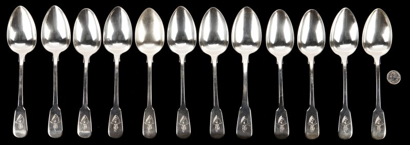 Lot 103: 11 Paul Storr Spoons plus 1 more, Bishop of Eley Crests