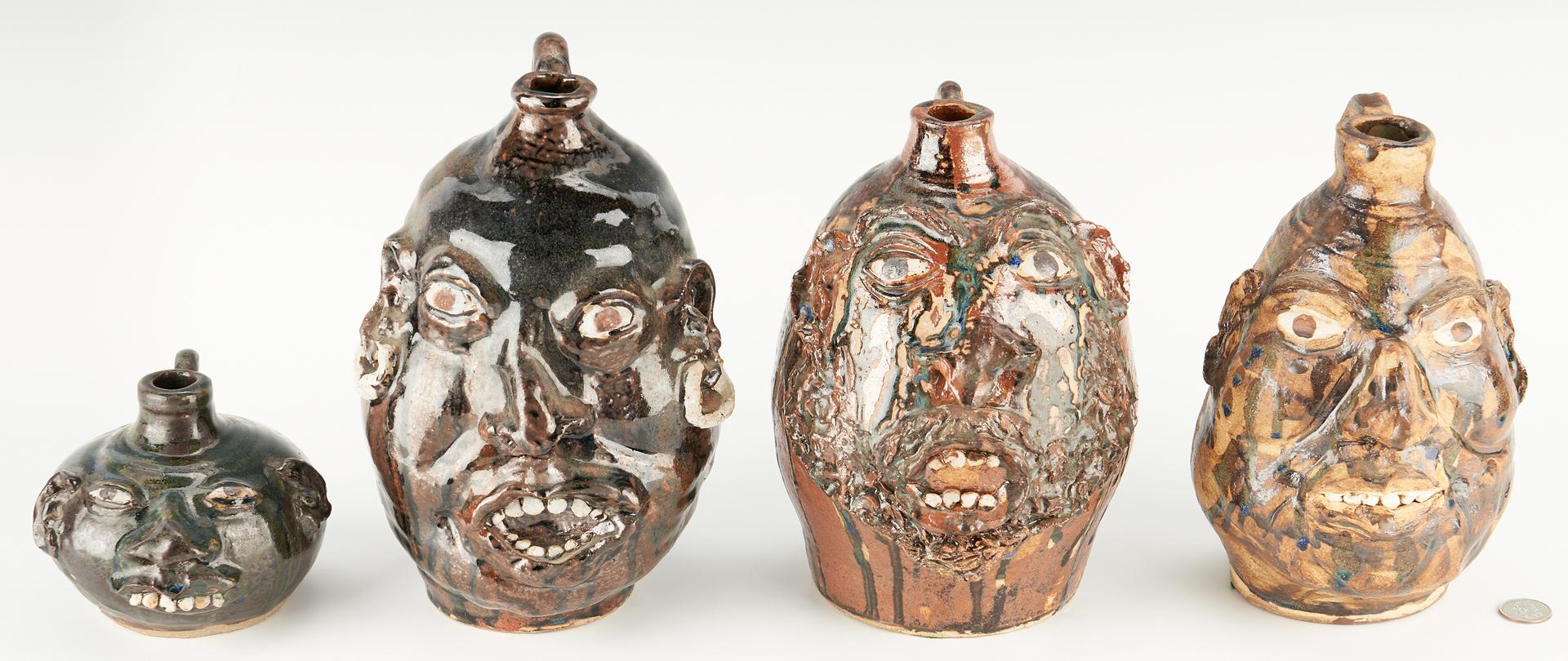 Lot 1042: 4 Tennessee Folk Art Pottery Face Jugs, Betty Jo Cabe