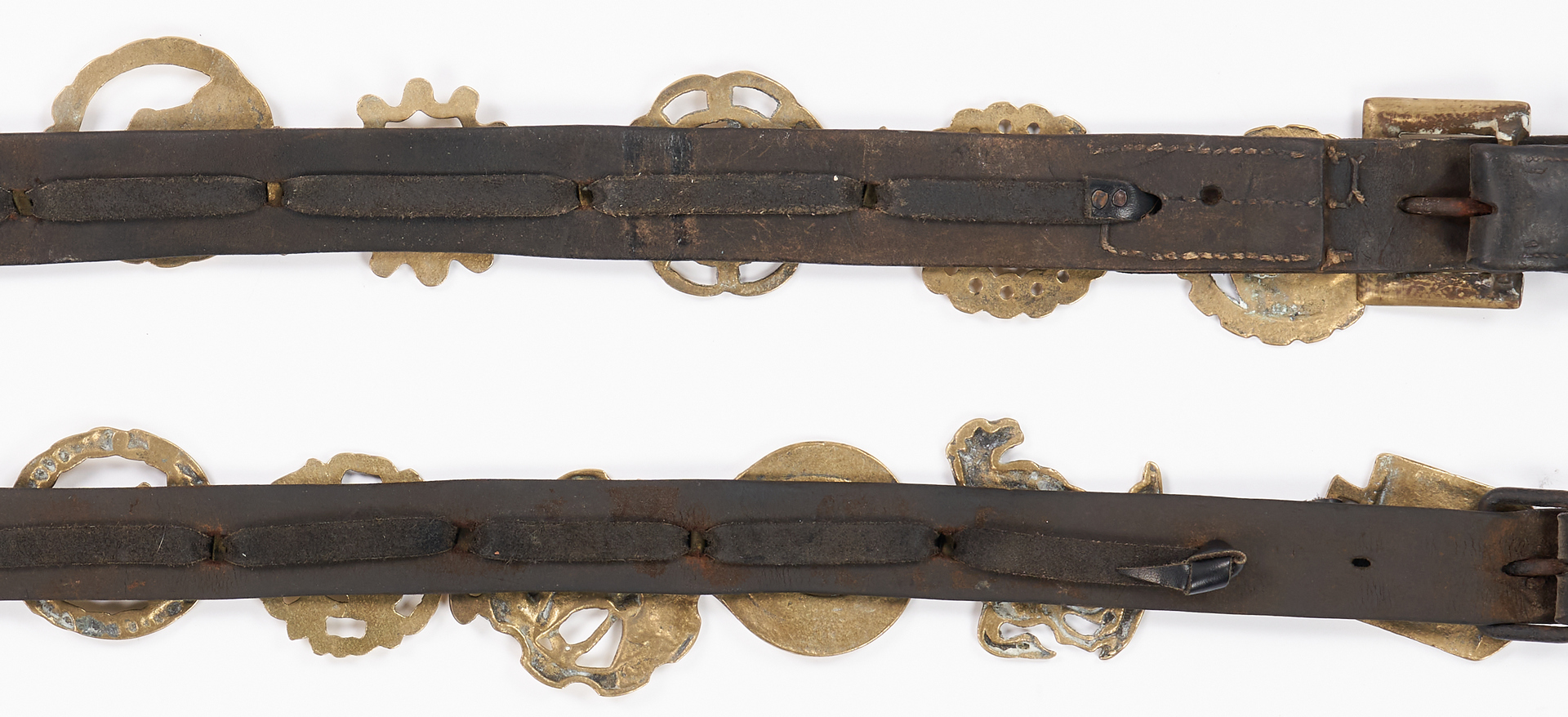 Lot 1047: 2 pcs English Horse Harness with Brasses