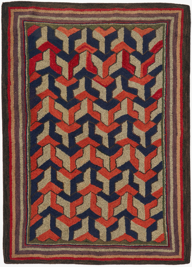 Lot 1050: Geometric Hooked Rug, Paper and String Holder and Yarn Winder
