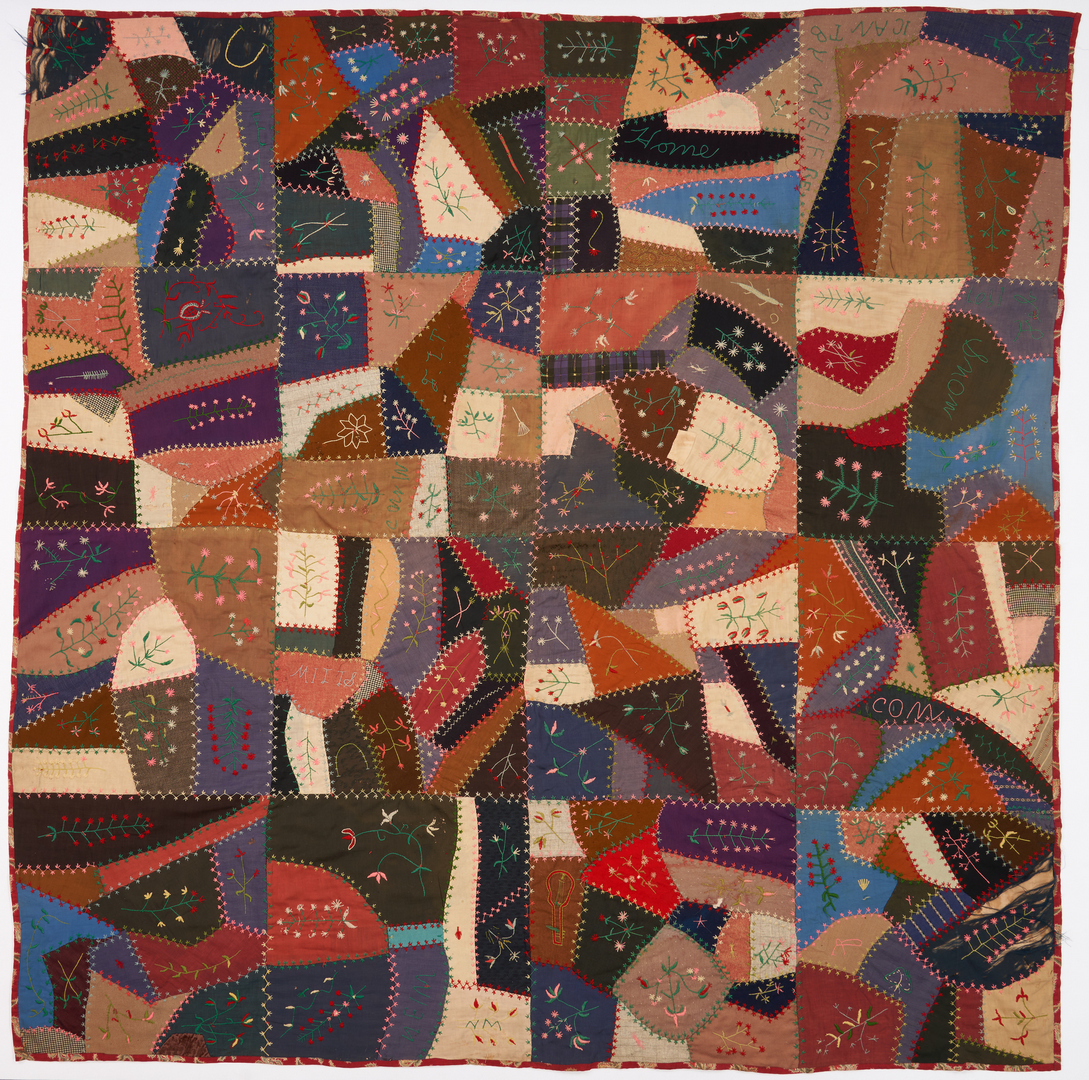 Lot 1052: Tennessee Embroidered Crazy Quilt, dated 1907