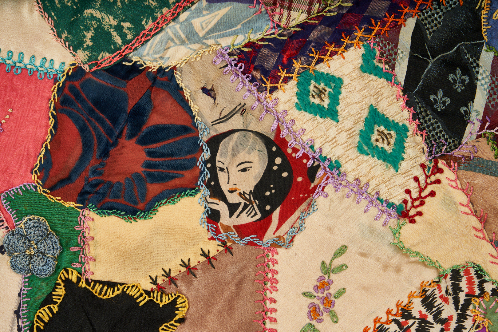 Lot 1055: Crazy Quilt and Carved Folk Art Rooster