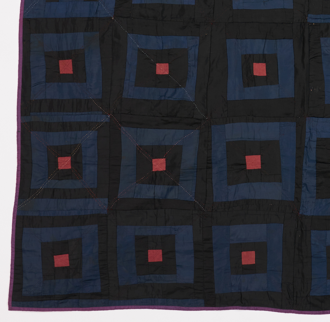 Lot 1056: 2 American Quilts inc. Log Cabin, Possibly Amish