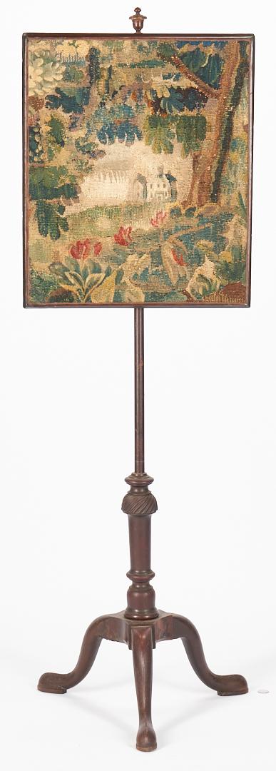 Lot 1058: Pole Screen and Elizabeth Norfolk Needlework House Sampler