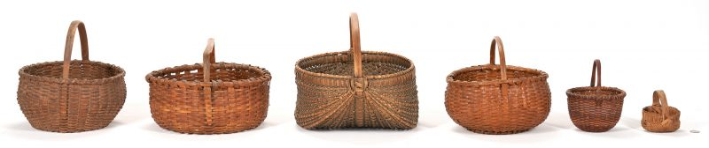Lot 1060: 6 Southern Split Oak Baskets, incl. Miniature