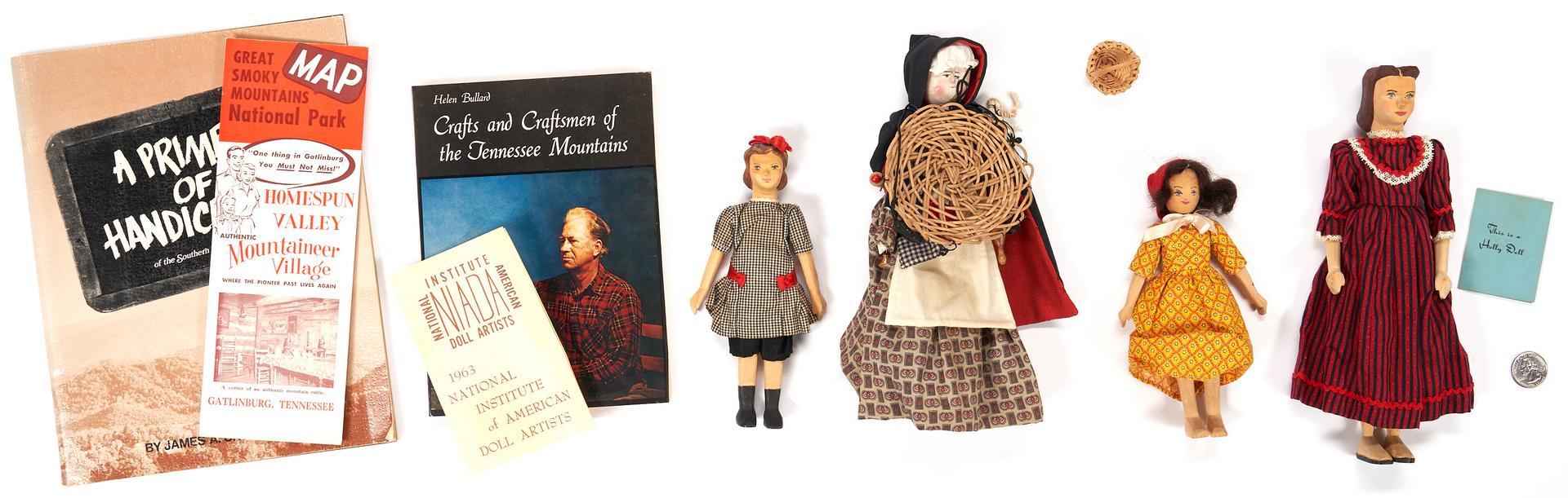 Lot 1062: 4 Folk Art Female Dolls, incl. 2 Helen Bullard
