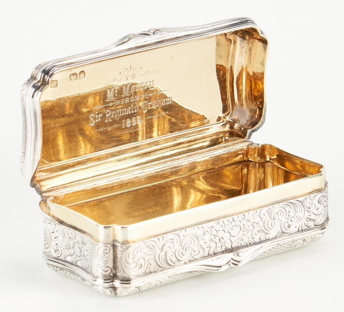 Lot 106: Silver Snuff Box, Sir Reg. Graham Presentation