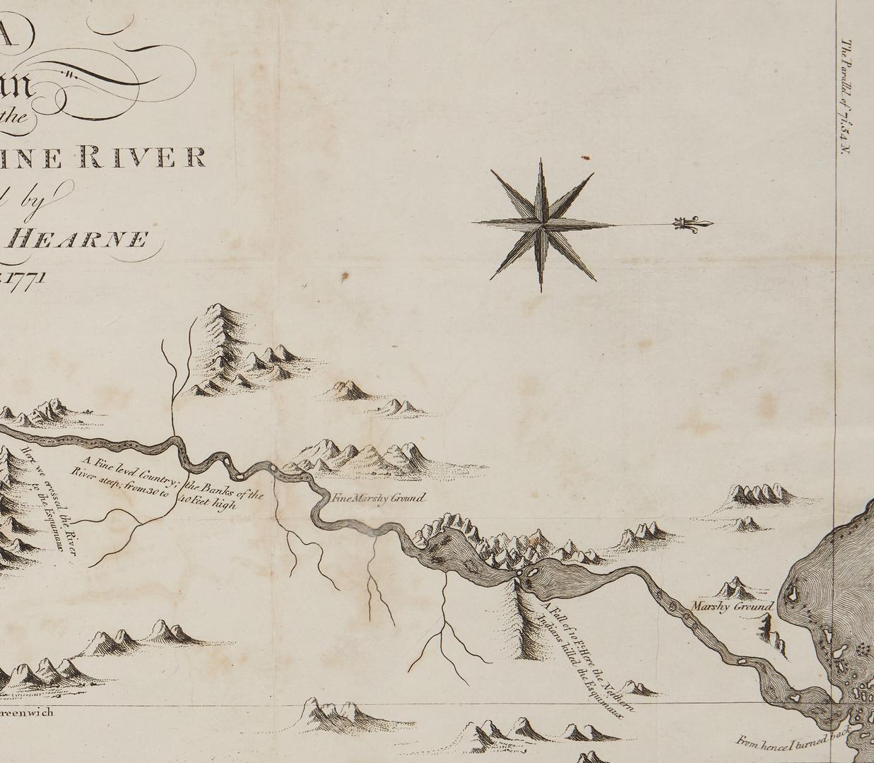 Lot 1072: Samuel Hearne Map of Copper Mine River plus View of Boston