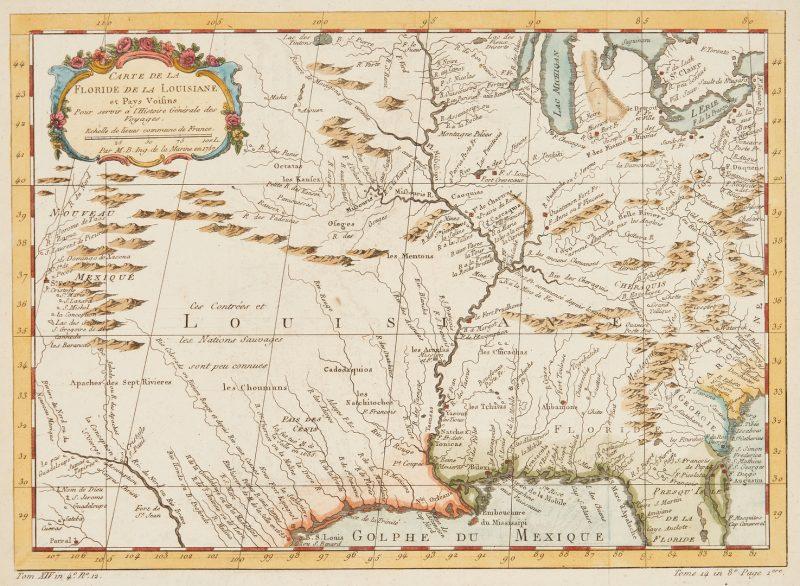 Lot 1073: French Map of Louisiana Territory, Bellin, 1757
