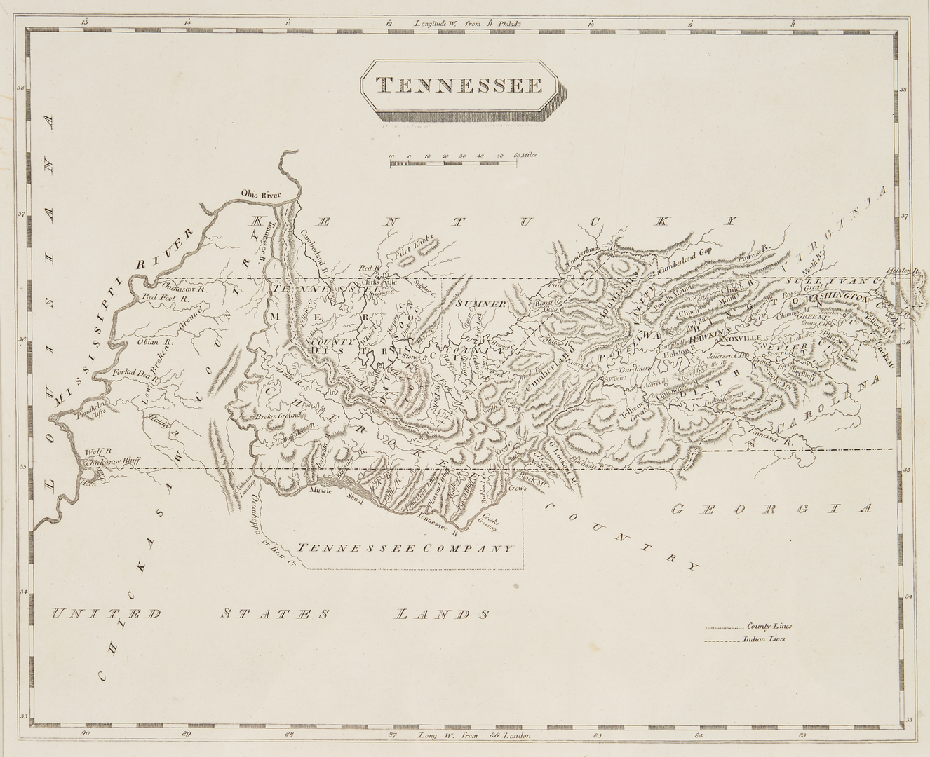 Lot 1075: 2 TN & KY Maps, incl. S. Lewis, 1804