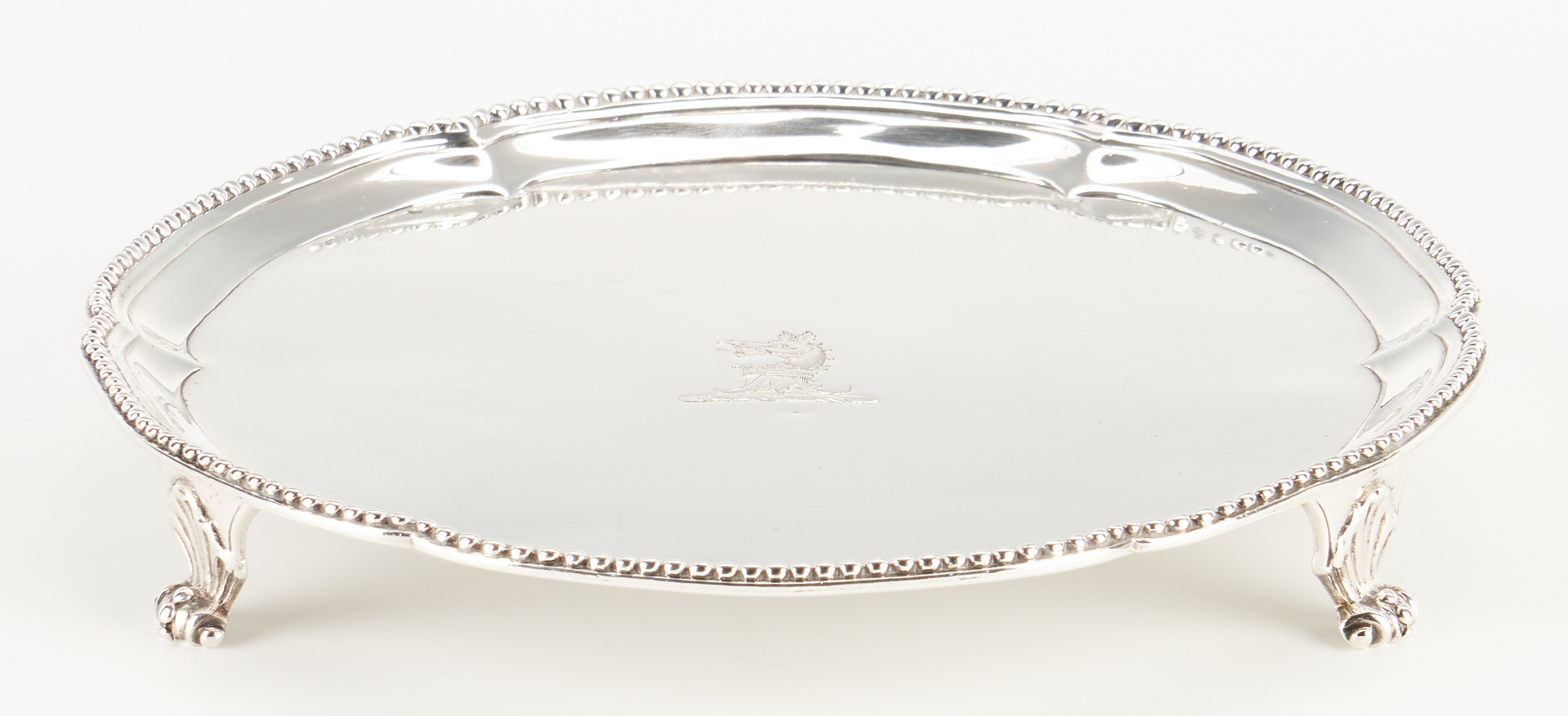 Lot 107: 18th C. English Sterling Salver, Crouch & Hannam