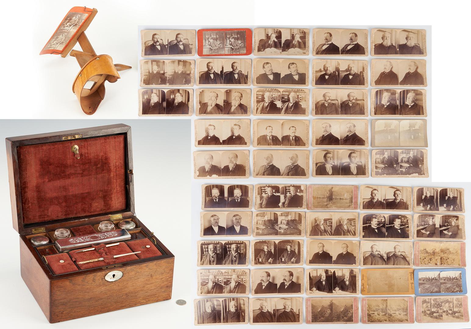 Lot 1080: 19th c. Traveling Dresser Box & Stereoview Set, TN Congressman J.D. Richardson