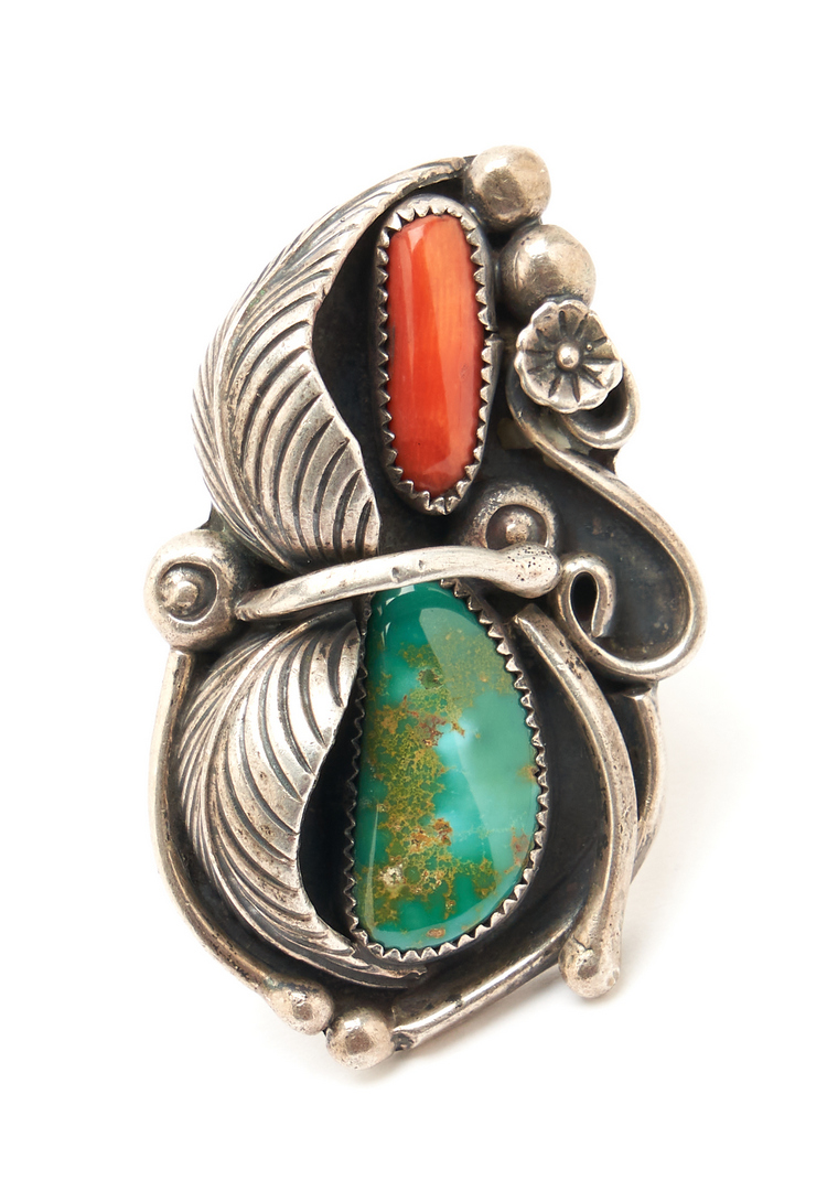 Lot 1084: 6 Native American Sterling & Stone Jewelry Items, incl. Bear Claw Pin