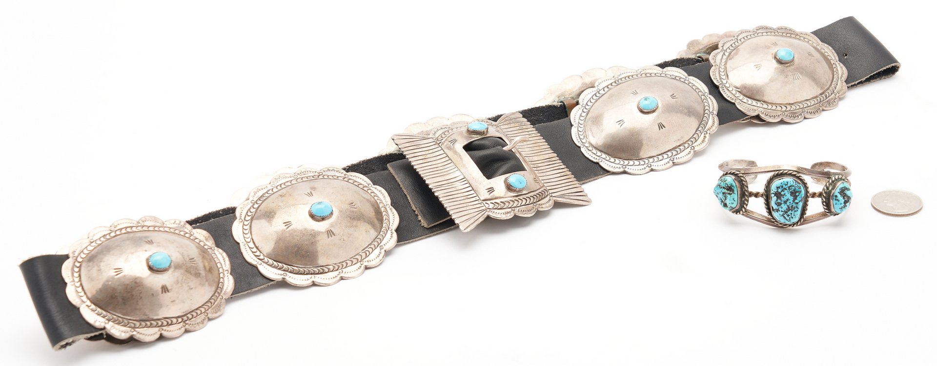 Lot 1085: 2 Navajo Native American Sterling Jewelry Items, incl. Concho Belt