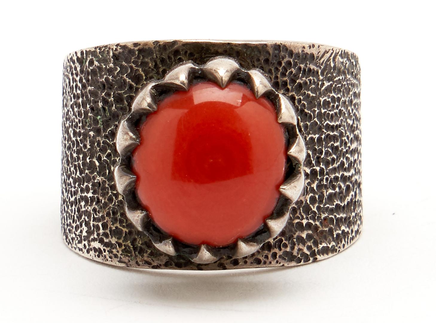 Lot 1086: Native American Coral Squash Blossom Jewelry Set, 4 items