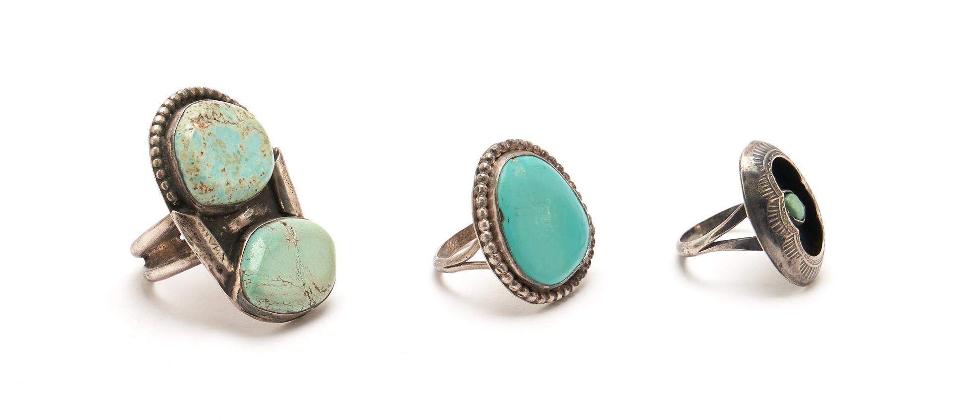 Lot 1088: 5 Navajo Turquoise & Silver Jewelry Items, incl. Etsitty & Benally