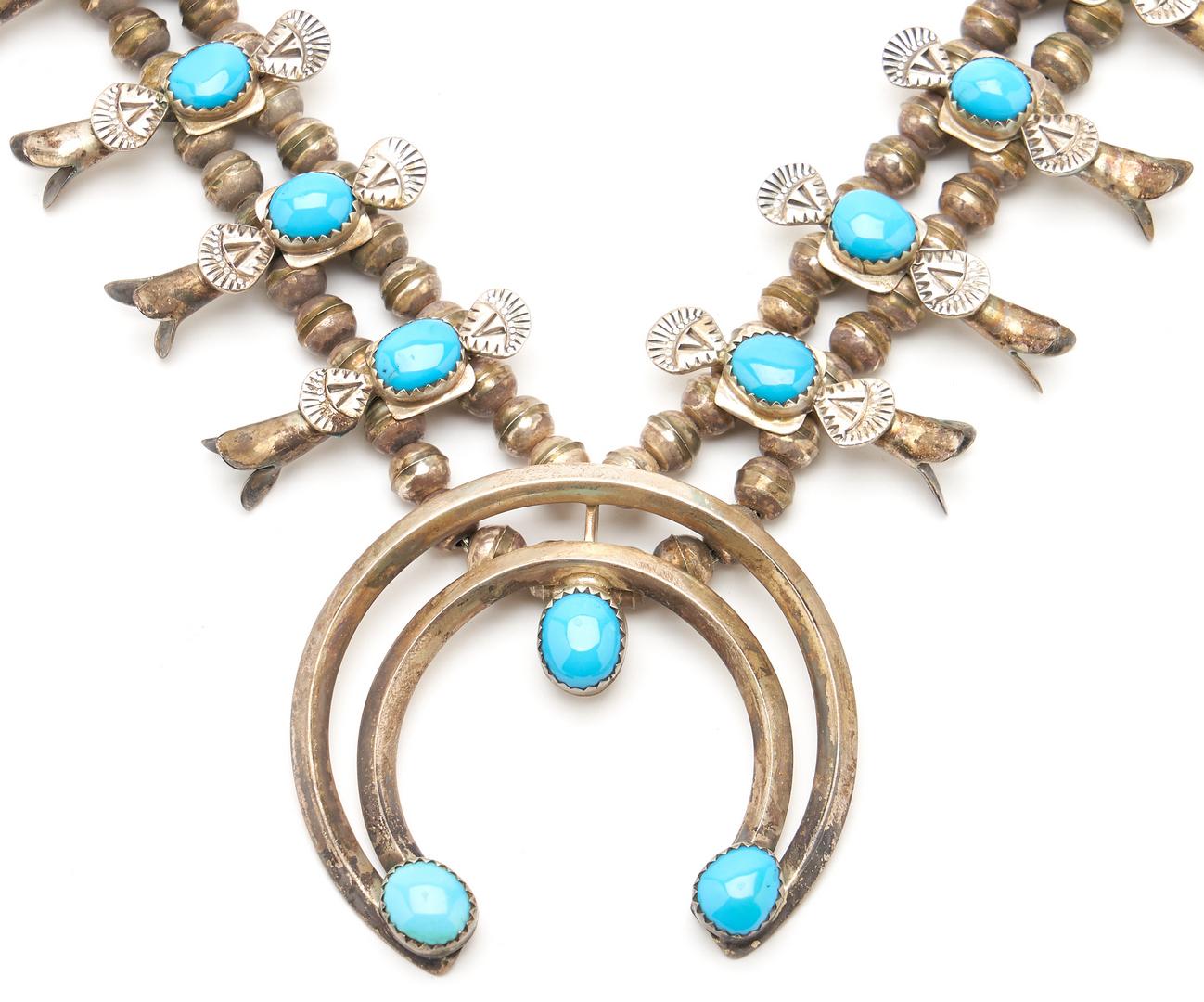 Lot 1089: 2 Native American Zuni Squash Blossom Necklaces