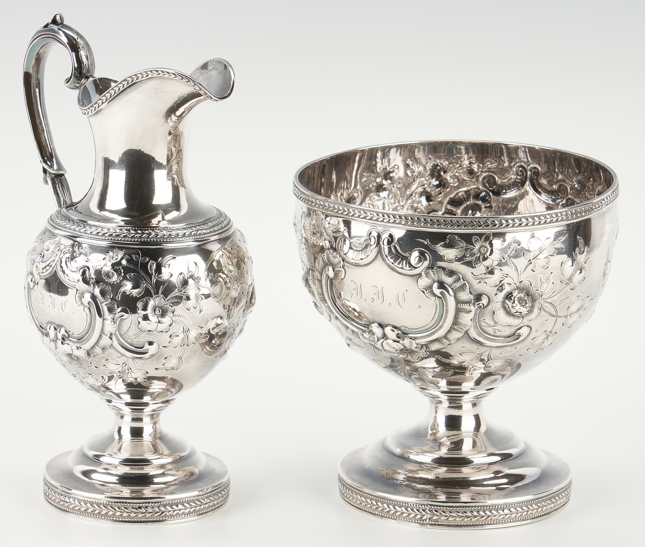 Lot 108: American Repousse Coin Silver Tea Service, NY