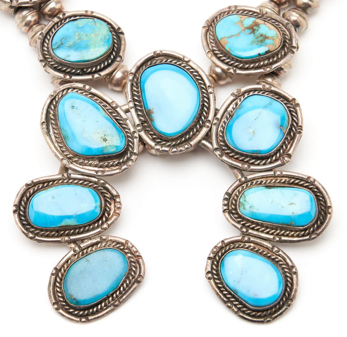 Lot 1090: 3 Native American Sterling & Turquoise Jewelry Items