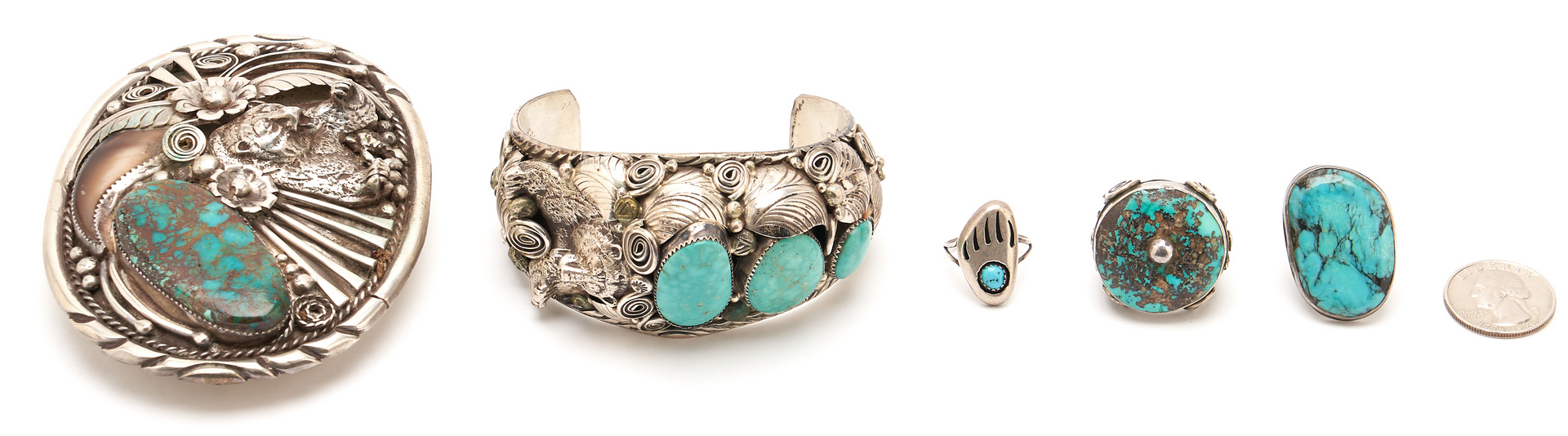 Lot 1091: 5 Pcs. Native American Turquoise & Silver Jewelry