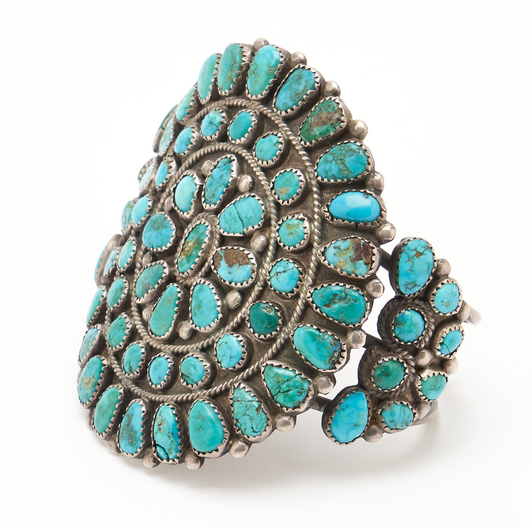 Lot 1092: 3 Native American Turquoise & Silver Jewelry Items