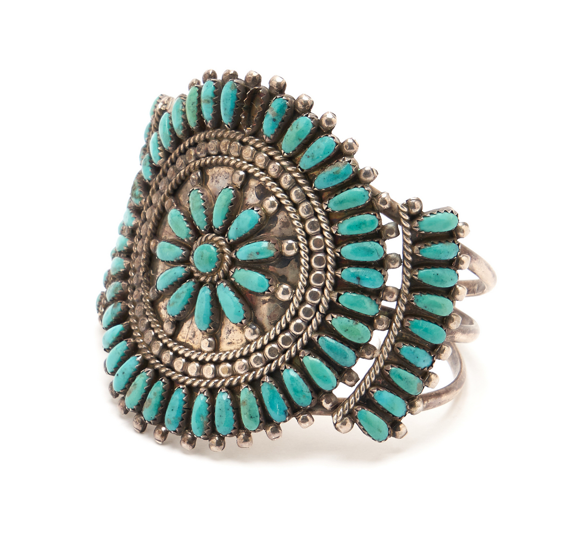 Lot 1093: 4 Native American Turquoise & Silver Jewelry Items, incl. Bolo Tie