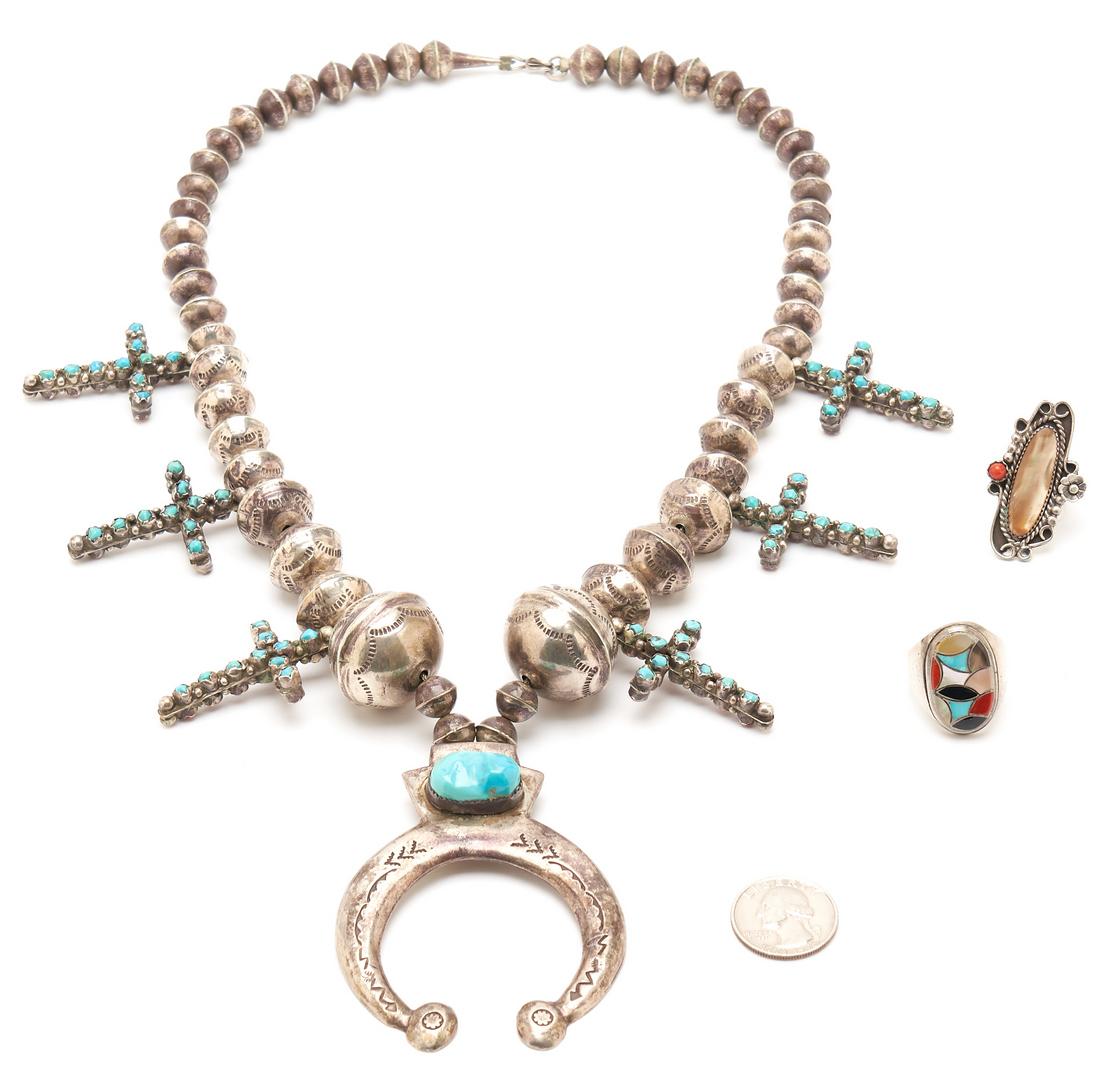 Lot 1094: 3 Navajo Multi Stone Jewelry Items, incl. Cross Squash Blossom Necklace