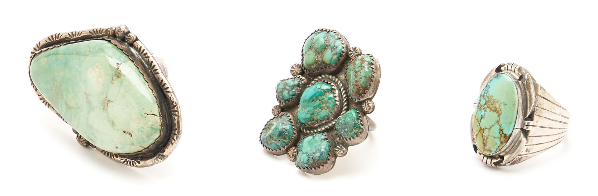 Lot 1095: 5 Native American Silver & Turquoise Jewelry Items