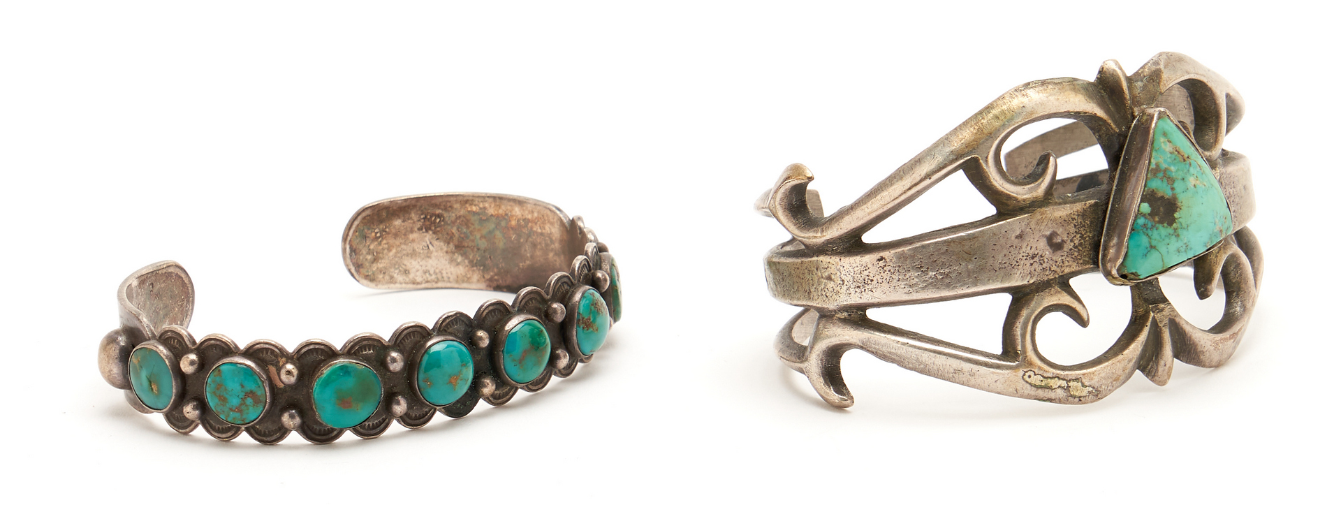 Lot 1096: 9 Native American Silver, Turquoise & Clay Jewelry Items