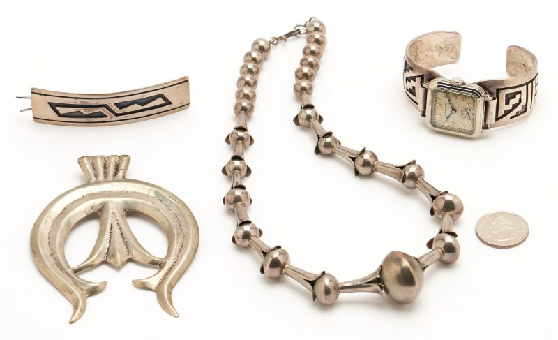 Lot 1097: 4 Native American Silver Jewelry Items
