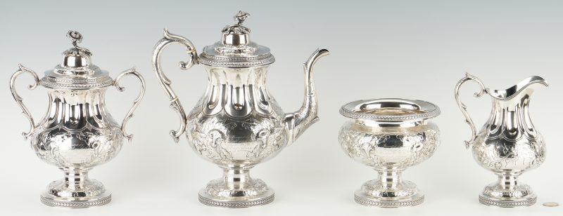 Lot 109: Coin Silver Tea Set, Smith Briggs – Civil War Navy, Railroad Interest