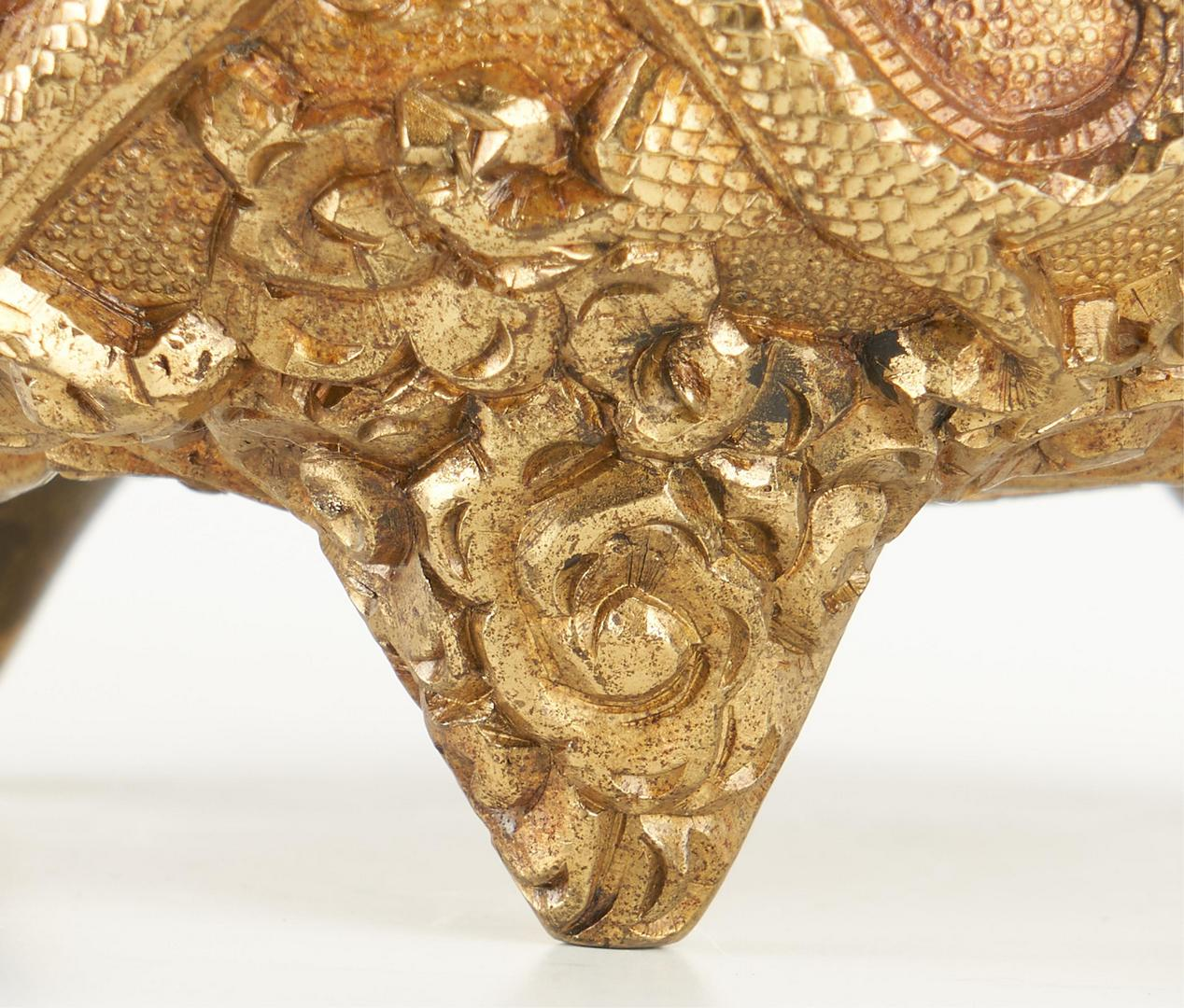 Lot 10: Chinese Gilt Bronze Censer with Dragon Relief Decoration