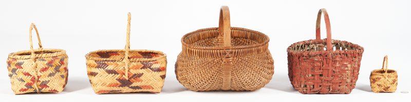 Lot 1101: 5 Baskets, Southern & Choctaw Baskets, incl. miniature
