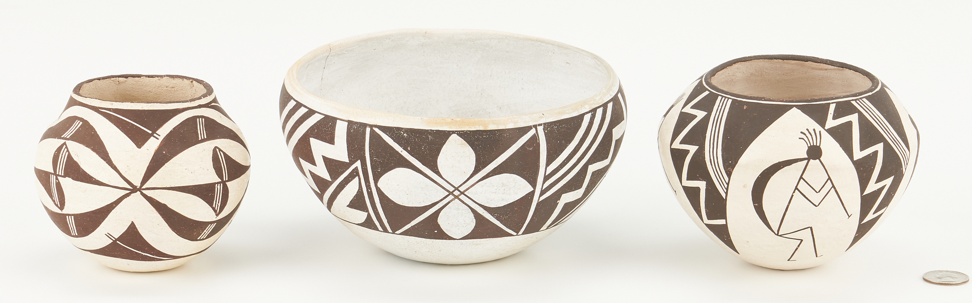 Lot 1105: 3 Acoma Pueblo, NM Pottery Items, incl. Lucy M. Lewis